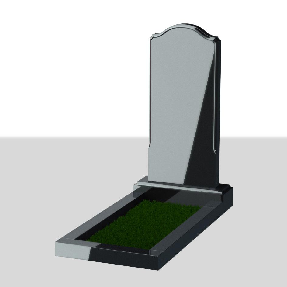 Вертикальный надгробный памятник с плавными линиями №3