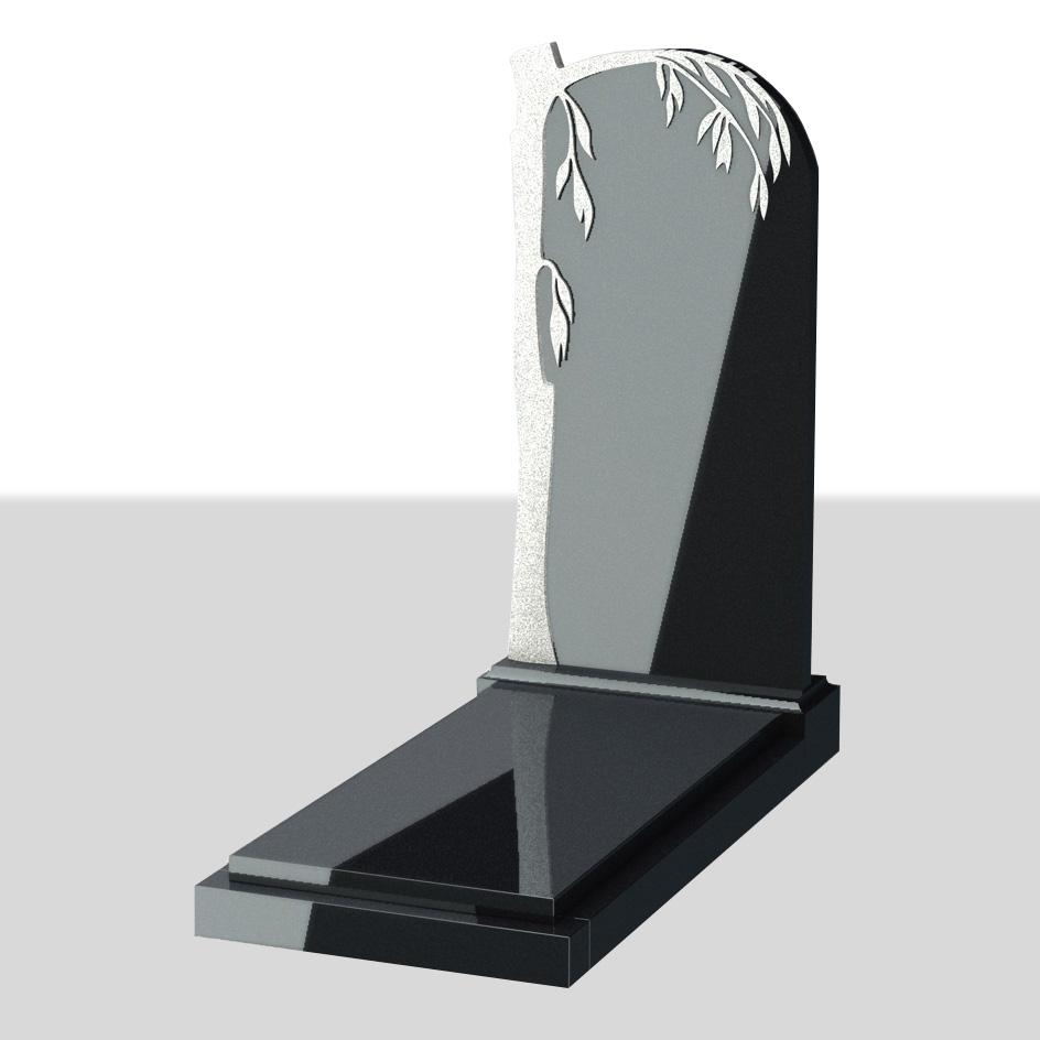 Вертикальный памятник с резным обрамлением Ива №12