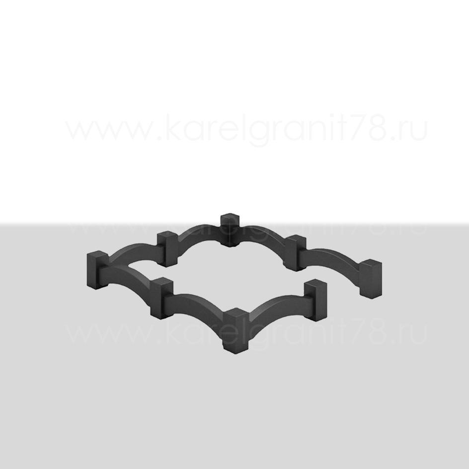 Цоколь с прямоугольными столбами и поребриками в виде арки №1