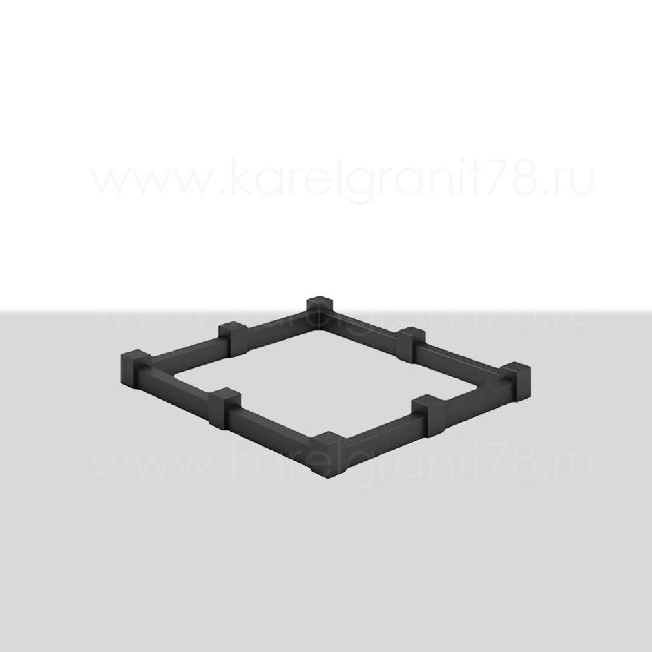 Цоколь с прямоугольными поребриками и столбами №2