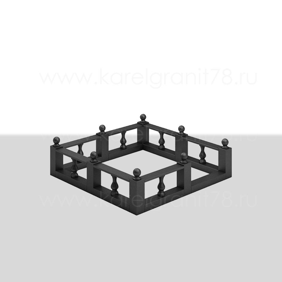 Цоколь с прямоугольными и круглыми столбами, поребриками и верхними планками №3