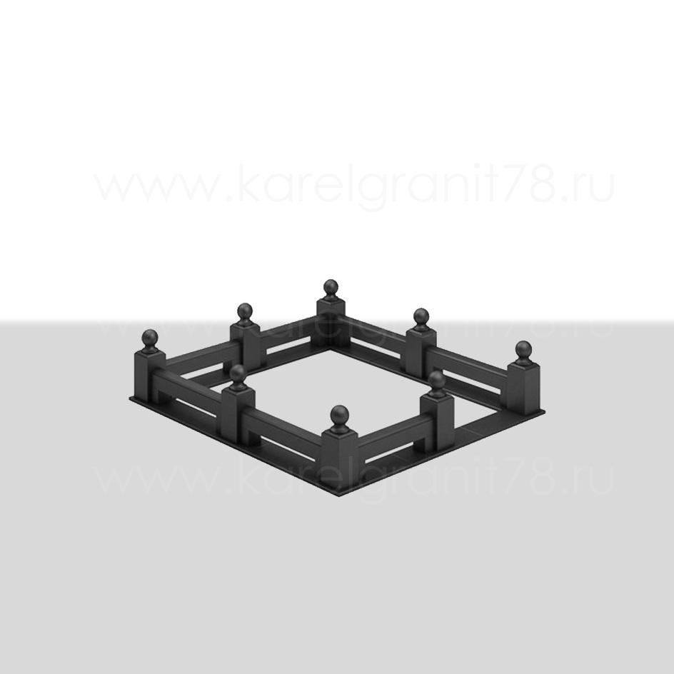 Цоколь с прямоугольными столбами и двойными поребриками №5