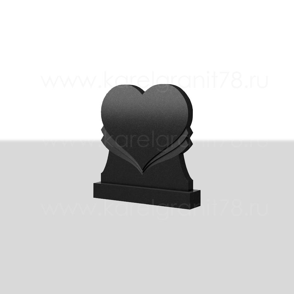 Горизонтальный памятник резной сердце симметричное №52