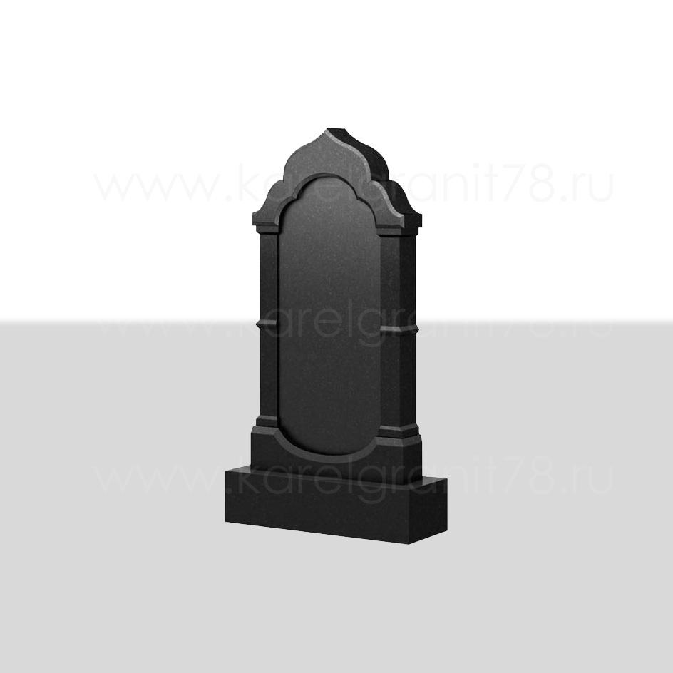 Вертикальный надгробный памятник с фигурной отделкой и плавными линиями №100