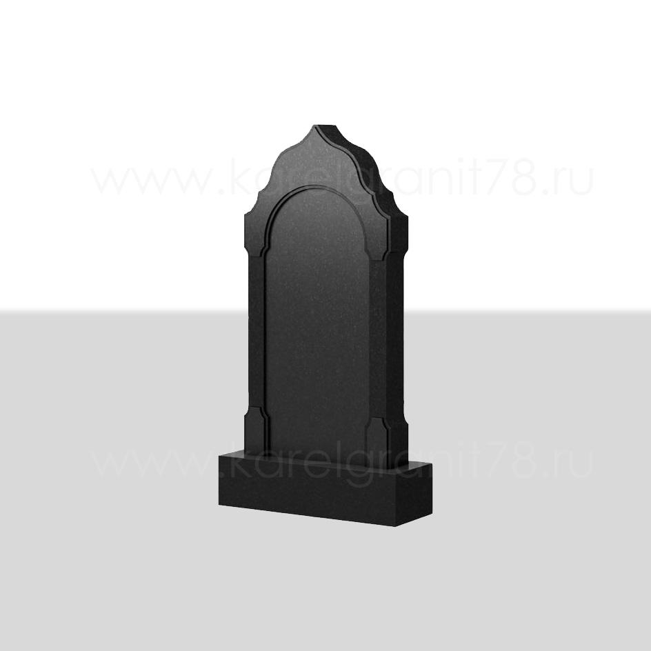 Вертикальный надгробный памятник с фигурной отделкой и фасками №102