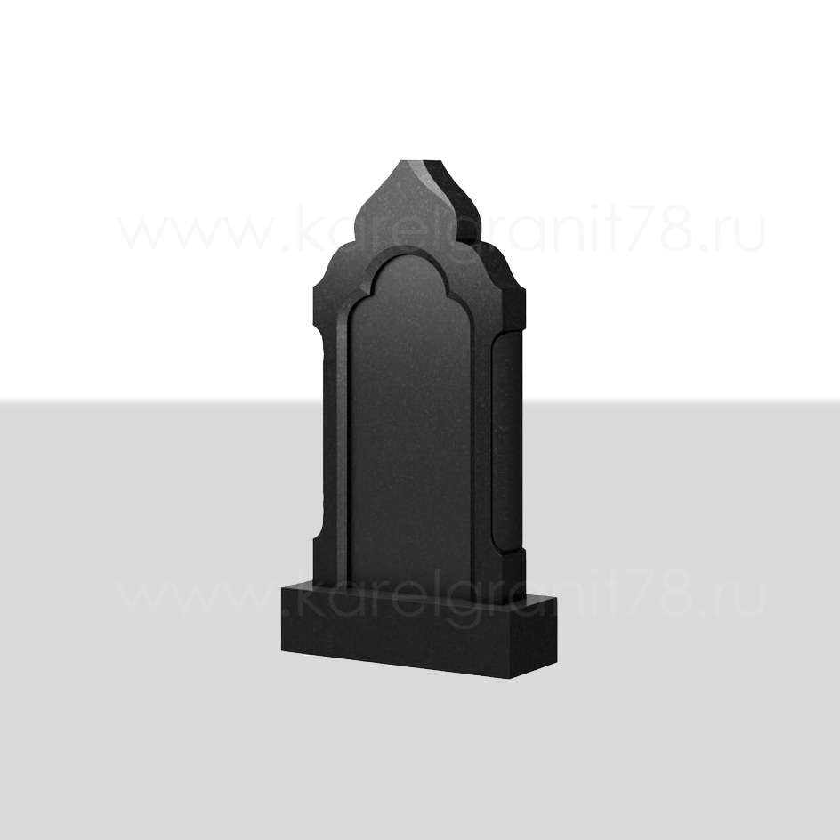 Вертикальный надгробный памятник с фигурной отделкой и полукруглыми вырезами сбоку №103