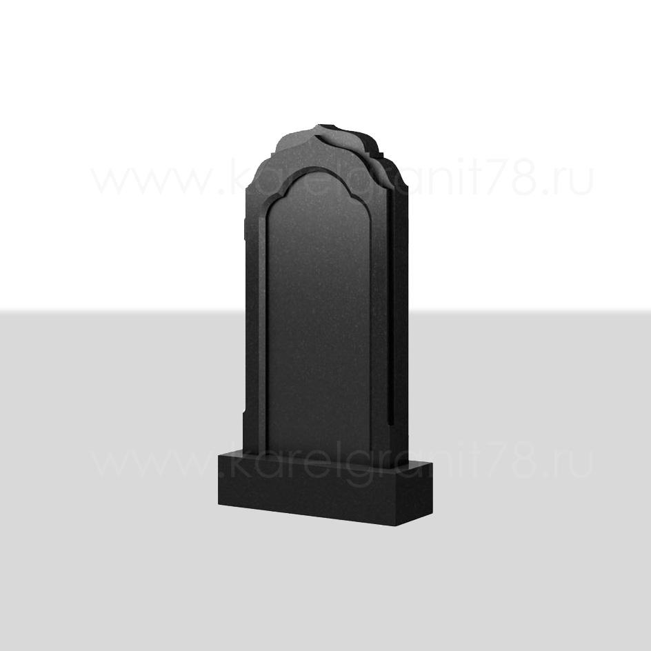 Вертикальный надгробный памятник с фигурной отделкой и рельефным верхом №105