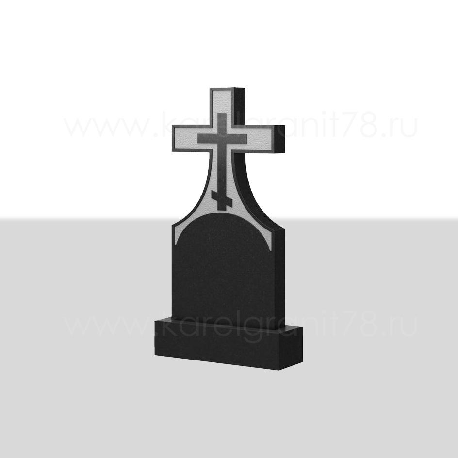 Классический вертикальный памятник с симметричным прямоугольным крестом сверху №71