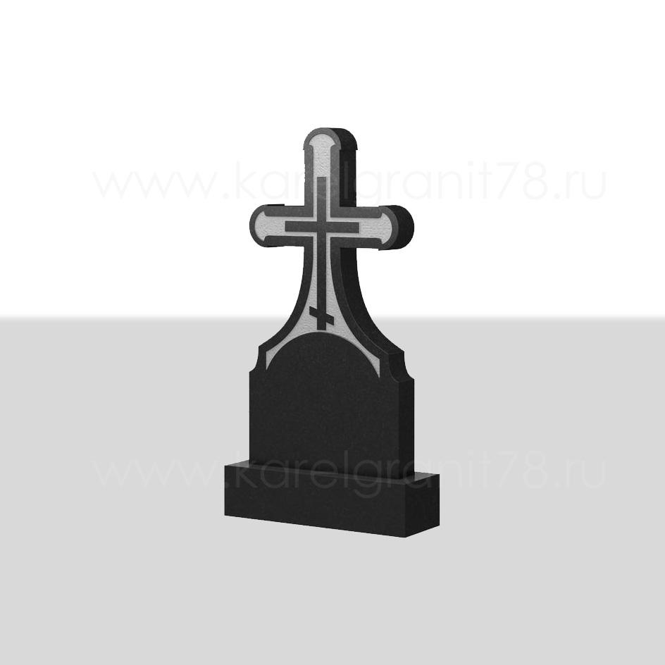 Классический вертикальный памятник с симметричным округлым крестом сверху №72