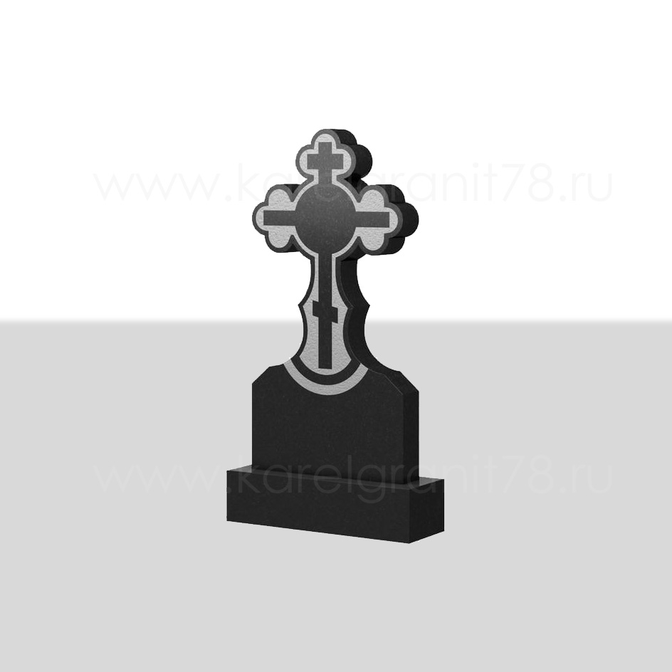 Классический вертикальный памятник с симметричным резным крестом сверху №73