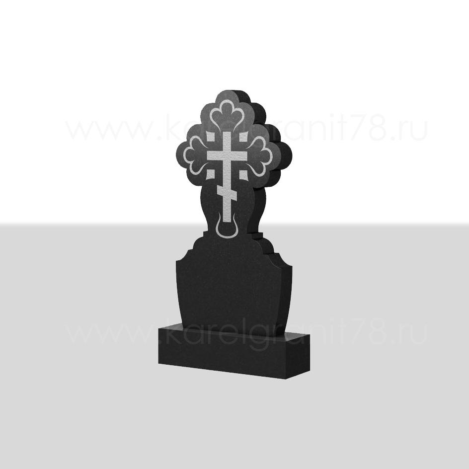 Классический вертикальный памятник с симметричным резным рельефным крестом сверху №74