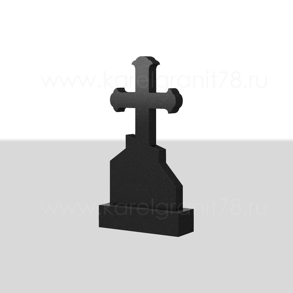 Классический вертикальный памятник с симметричным резным полированным крестом сверху №75