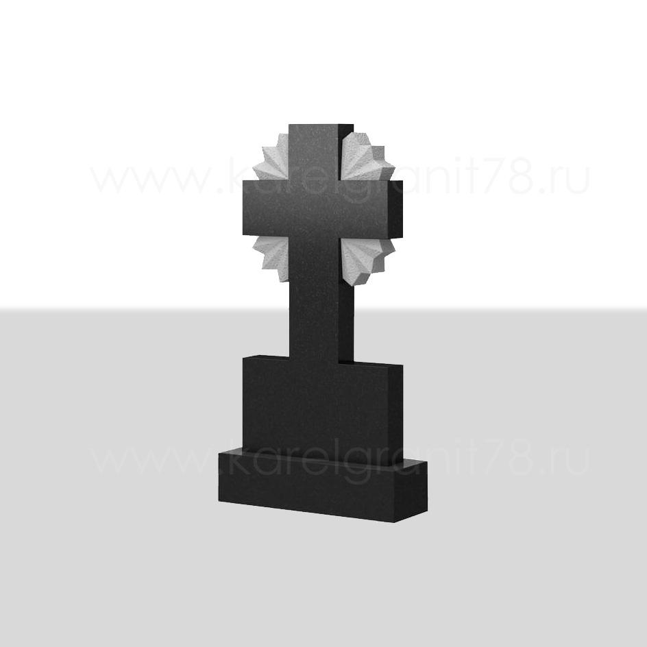 Классический вертикальный памятник с симметричным крестом и лучами сверху №76